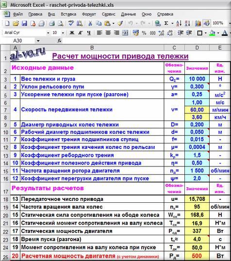 Расчет привода тележки в Excel