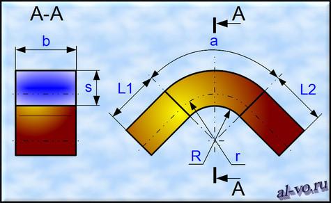 Чертеж гнутого уголка с размерами необходимыми для расчета длины развертки