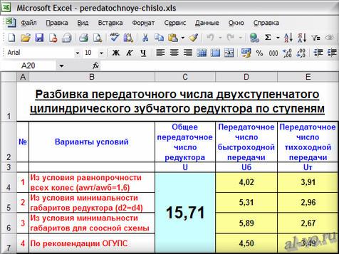 Программа в Excel по разбивке передаточного числа двухступенчатого цилиндрического зубчатого редуктора по ступеням