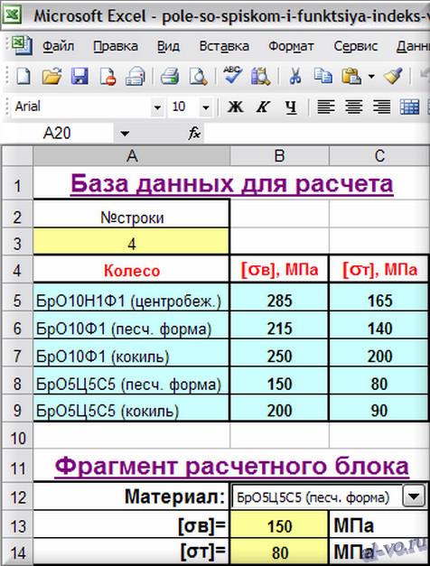 Пример совместного использования поля со списком и функции ИНДЕКС для извлечения данных из таблицы Excel