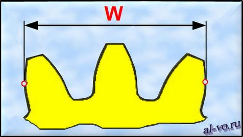 Размер, показывающий длину общей нормали на фрагменте зубчатого колеса.