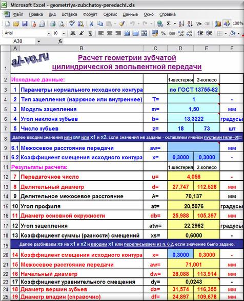 Программа расчета геометрии зубчатой передачи в виде таблицы Excel