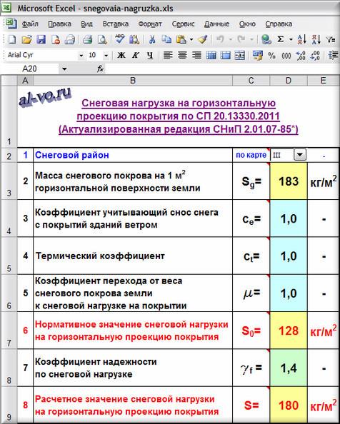 Таблица Excel с расчетом снеговой нагрузки