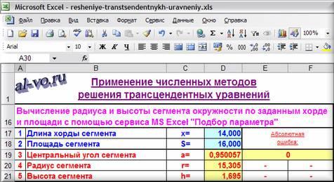 Таблица в Excel решения уравнения методом подбора параметра