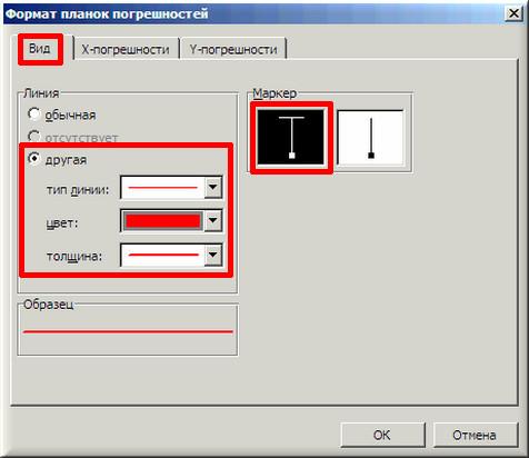 "Окно MS Excel ""Формат планок погрешностей"" вкладка ""Вид"""