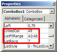 """Выпадающее окно Excel """"Properties"""""""