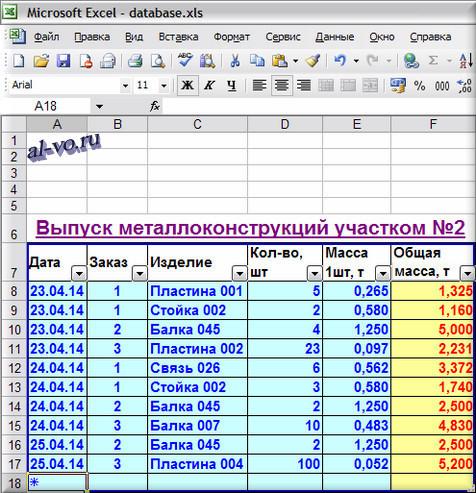 База данных в Excel - окончательная таблица-10s