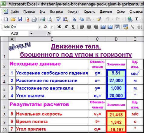Таблица Excel №1. Движение тела, брошенного под углом к горизонту.