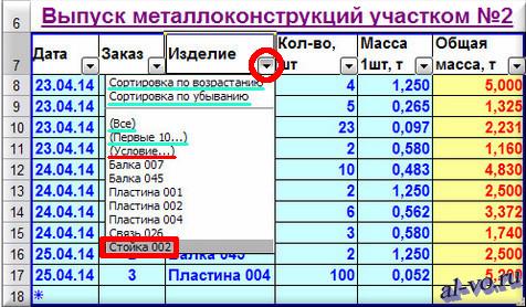 База данных в Excel-автофильтр по записи поля-01-12s