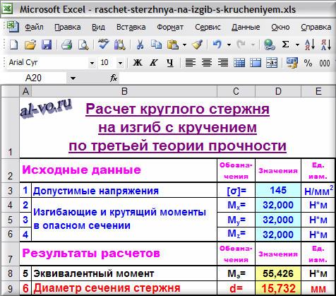 Расчет в Excel круглого стержня на изгиб с кручением