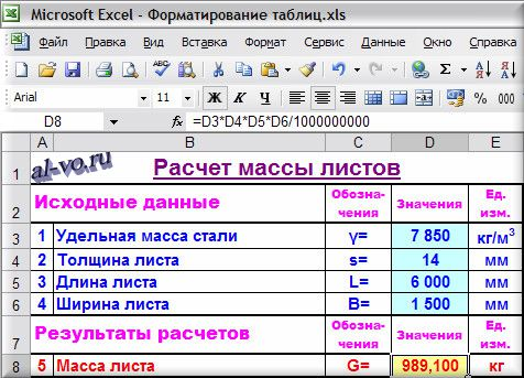 Форматирование таблиц в Excel - результат