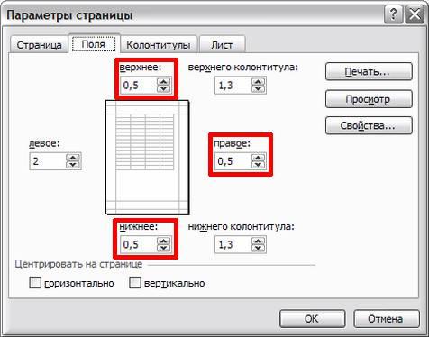 """Окно Excel """"Параметры страницы-Поля""""-19s"""