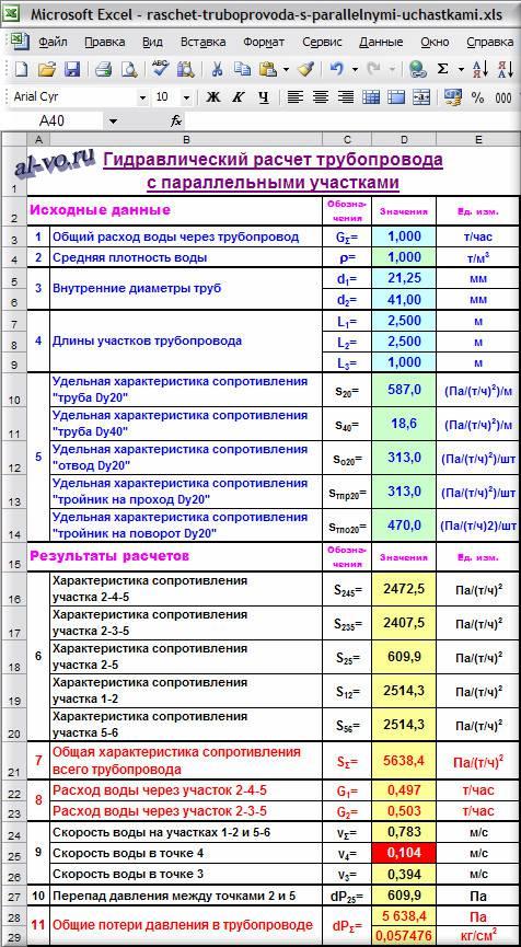 Гидравлический расчет в Excel сложного трубопровода