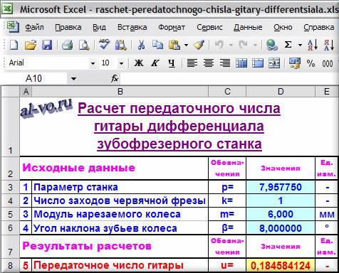 Расчет в Excel передаточного числа гитары дифференциала