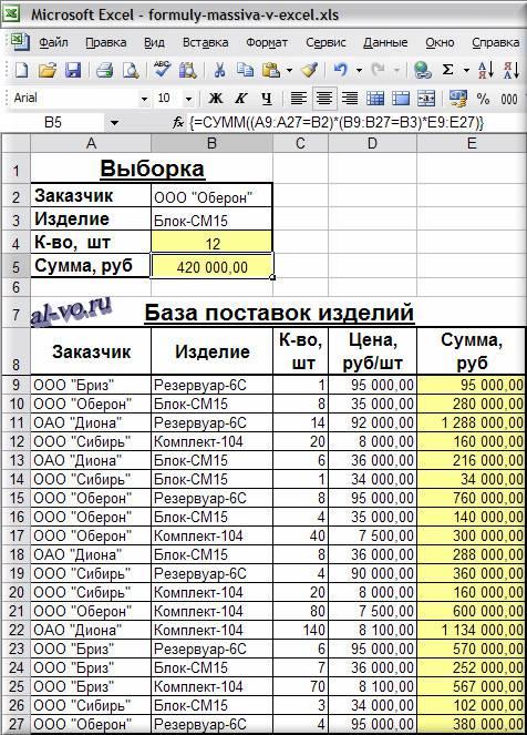 Формула массива в Excel