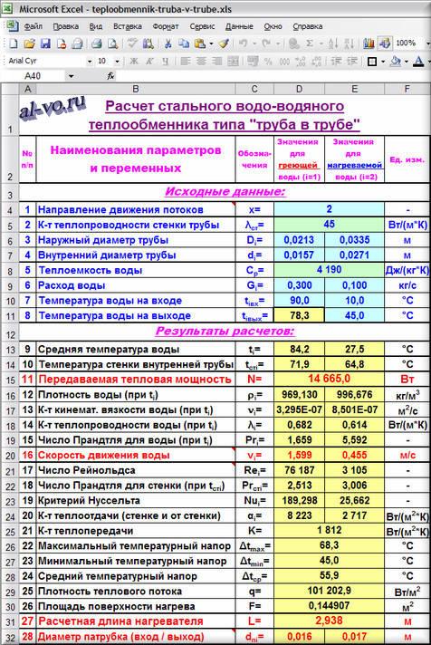 Программа расчета труба теплообменников