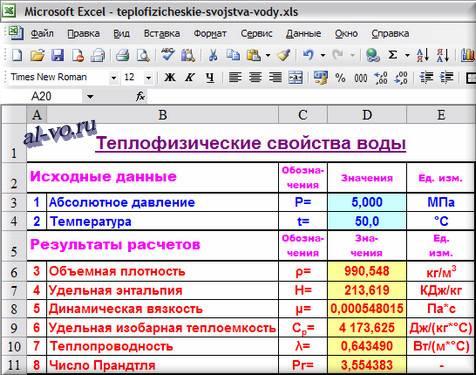 Теплофизические свойства воды в Excel
