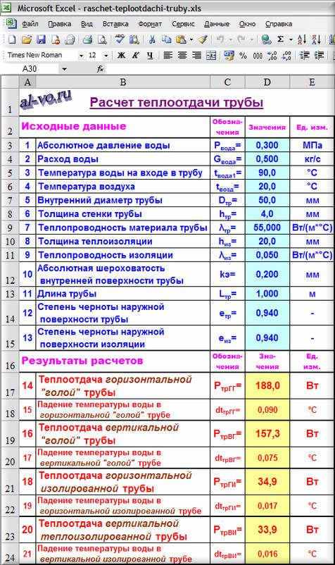 Таблица Excel Расчет теплоотдачи трубы