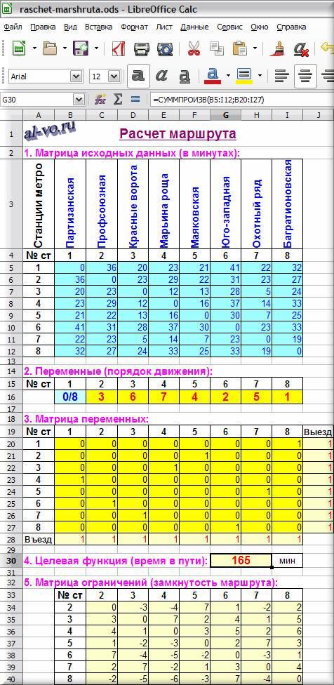 Расчет маршрута в LibreOffice Calc